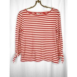 J. Crew striped boatneck top with tie sleeves
